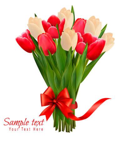 与五颜六色的花花束的假日背景与弓和丝带的。矢量图