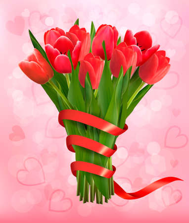 colorful flowers: Valentines holiday background with bouquet of pink flowers with bow and ribbon. Vector illustration.