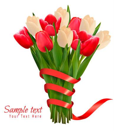 Valentijnsdag vakantie achtergrond met een boeket van roze bloemen met strik en lint. Vector illustratie.