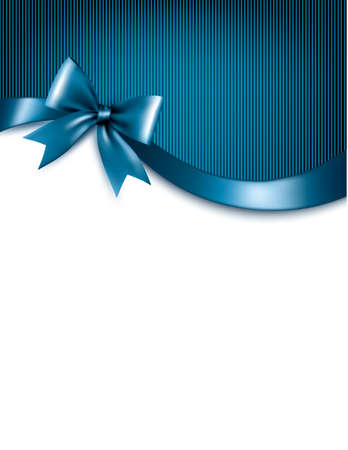 Holiday blue background with red gift glossy bow and ribbons. Vector. Vectores