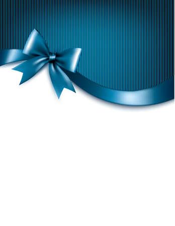 fondo para tarjetas: Vacaciones de fondo azul con regalo de color rojo brillante arco y cintas. Vector.