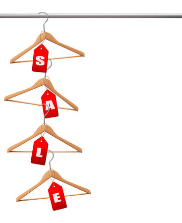 clothes rail: Coat hangers on a clothes rail. Discount promotion concept. Vector