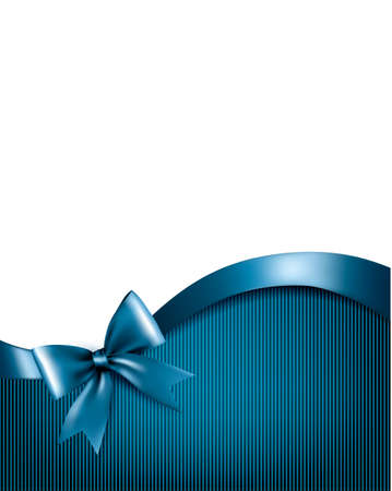 Holiday blue background with red gift glossy bow and ribbons. Vector. Ilustração