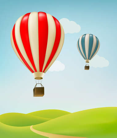 balon: Retro background with colorful air balloons and green land. Vector. Illustration