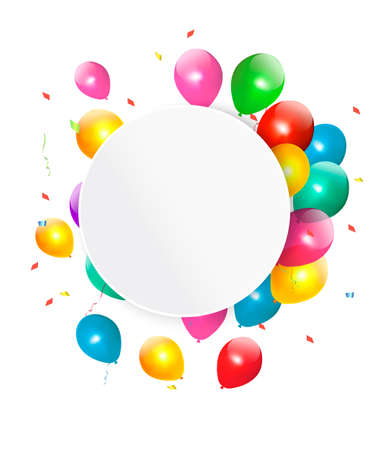 float: Happy birthday gift card with baloons. Vector.