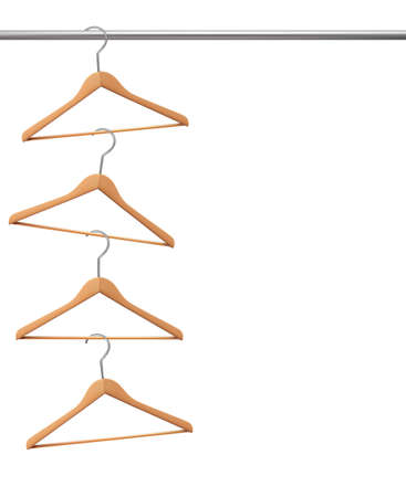 clothes rail: Coat hangers hanging on a clothes rail. Vector. Illustration