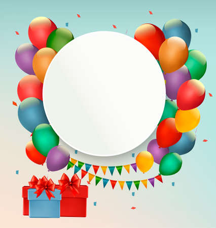 Happy Birthday background with balloons and presents. Vector
