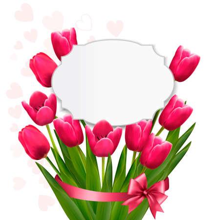 celebration background: Celebration background with pink tulips. Vector. Illustration