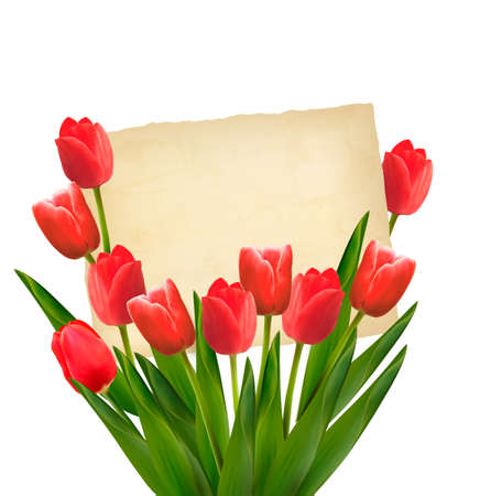bouquet  flowers: Red tulips with Happy Mothers Day note. Vector.