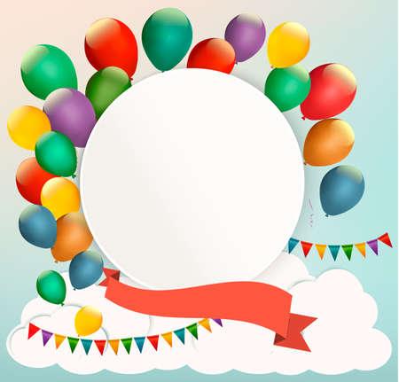 ünneplés: Retro születésnapi háttér színes léggömbök. Vektor