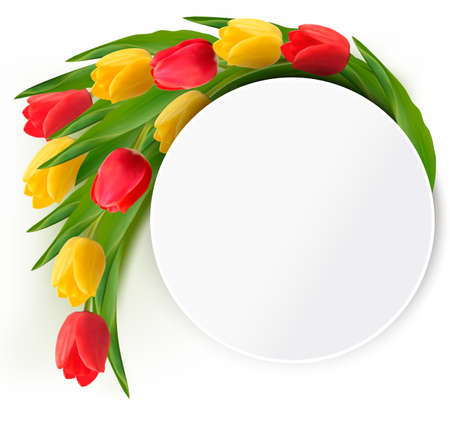 flowers bouquet: Yellow and red tulips holiday background. Vector,