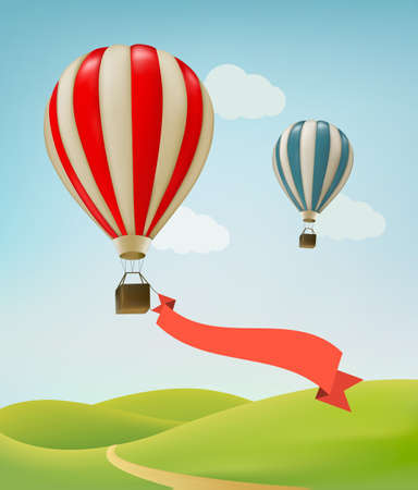 ballooning: Hot air balloons in the sky. Vector.
