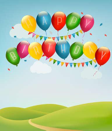 happy birthday: Retro vacanze sfondo con palloncini colorati e paesaggio. Vettore