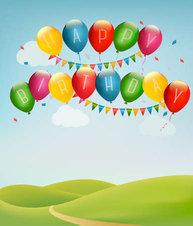 Retro holiday background with colorful balloons and landscape. Vector Illustration