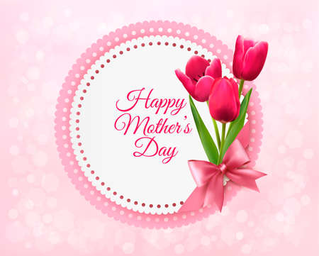 Pink tulips with Happy Mothers Day gift card. Vector. Çizim