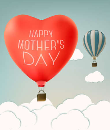 balon: Mothers day over sky landscape background with air balloons. Vector