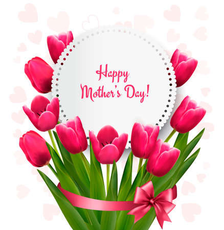 Pink tulips with Happy Mothers Day gift card. Vector. Иллюстрация