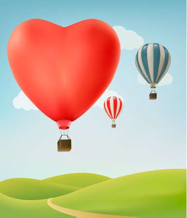 hot love: Nature background with colorful air balloons and green land. Vector illustration