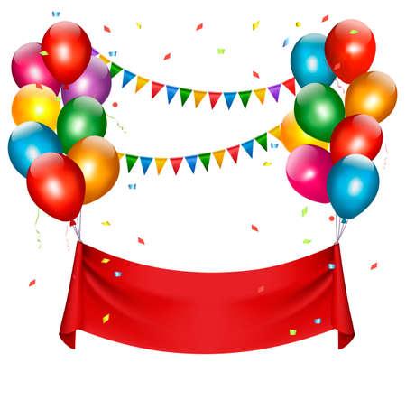 Dovolená narozeniny banner s balónky. Vektor.