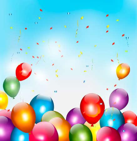 marco cumpleaños: Vacaciones de fondo con globos de colores. Vector.