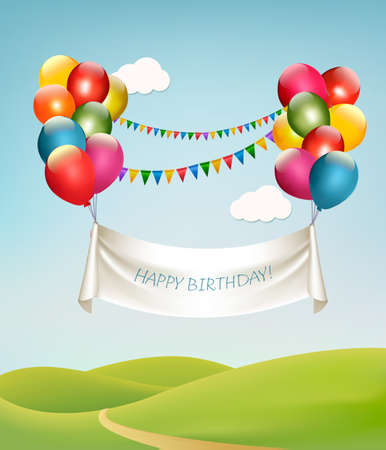 balon: Happy birthday banner with balloons. Vector.