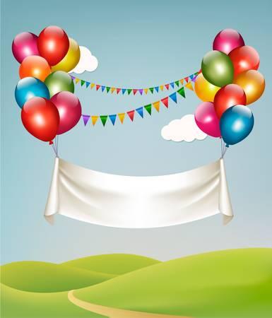 balon: Happy birthday banner with balloons. Vector.