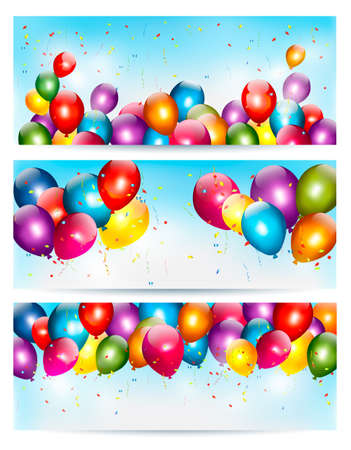 float: Three holiday banners with colorful balloons. Vector.