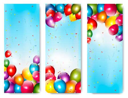 Drie vakantie banners met kleurrijke ballonnen. Vector.