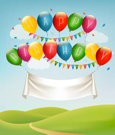 balon: Happy birthday banner with balloons and landscape. Vector. Vector.