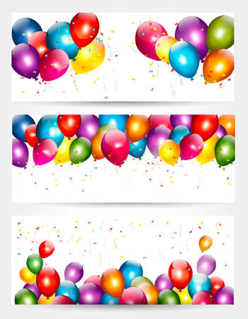 Three holiday birthday banners with balloons. Vector. Vettoriali