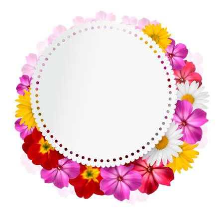 borde de flores: Vacaciones de fondo con flores de color rosa y una tarjeta de regalo. Vector Vectores