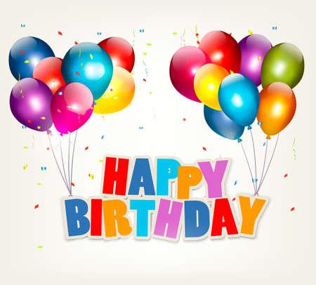 marco cumpleaños: Globos con un cartel del feliz cumpleaños. Vector Celebración.