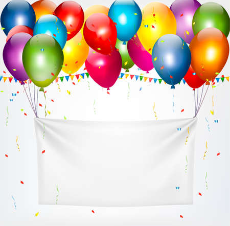Colorful balloons holding up a cloth white banner. Birthday background. Vectores