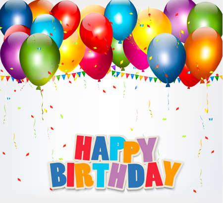 Fundo da celebração com balões, confetes e um sinal feliz aniversario. Vetor.