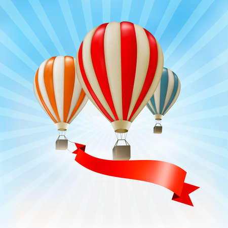 hot air: Air balloons background. Vector
