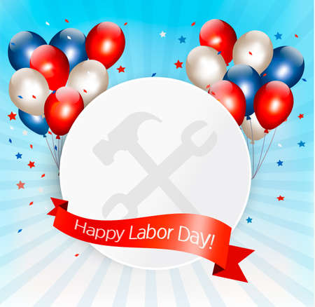 fun day: Happy Labor Day background with balloons. Vector.