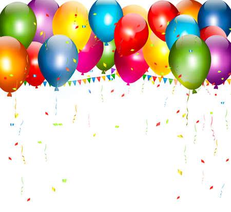 festa: Fundo do feriado colorido com balões. Vetor. Ilustração