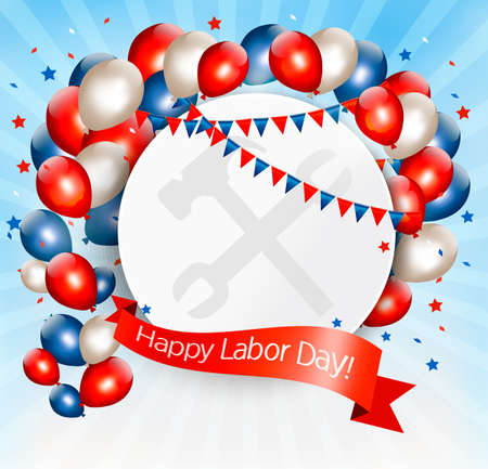 ballon: Happy Labor Day background with balloons. Vector.