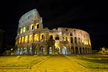 Rome Colosseum view of the Colosseum at night photo