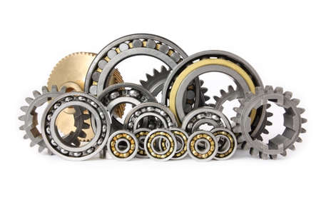 bearings: gears and bearings on white background Stock Photo