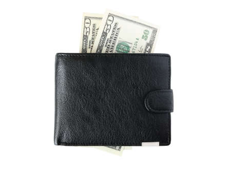 Black purse and two bills of fifty dollars  on a white background      photo