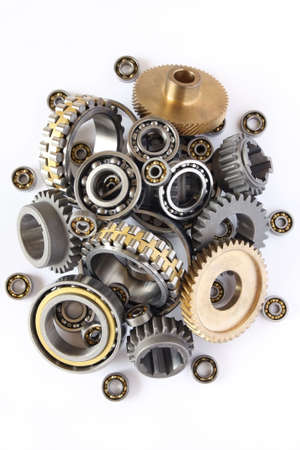 gears and bearings on white background
