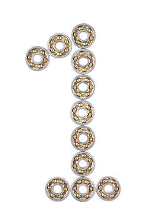 The number one consisting of the bearings on a white background Stock Photo - 6716962