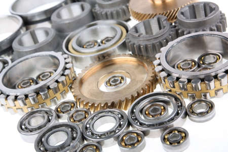 the gears and bearings on white background photo