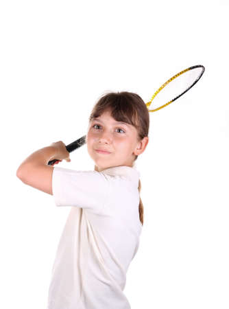 Girl with a badminton racket on a white background photo