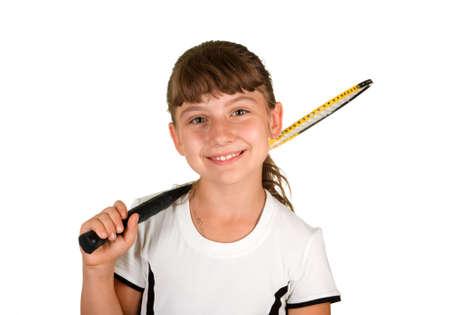 A smiling girl badminton on a white background photo