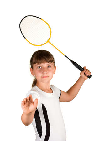 badminton racket: Girl with a badminton racket on a white background Stock Photo