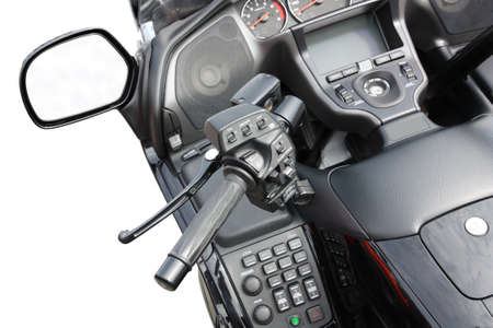 Fragment motorbike handlebar, control panel, rear-view mirror on a white background photo