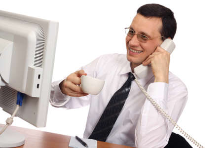 desk clerk: Businessman wearing glasses with a cup in her hand, smiling on the phone on a white background