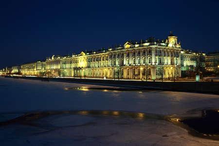 neva: St. Petersburg, Russia,  Neva River, The Winter Palace, evening